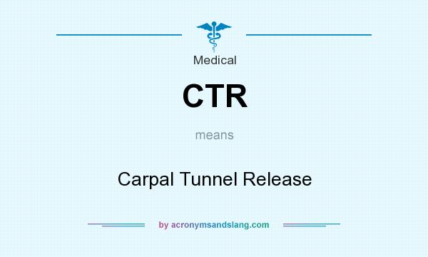 What does CTR mean? It stands for Carpal Tunnel Release