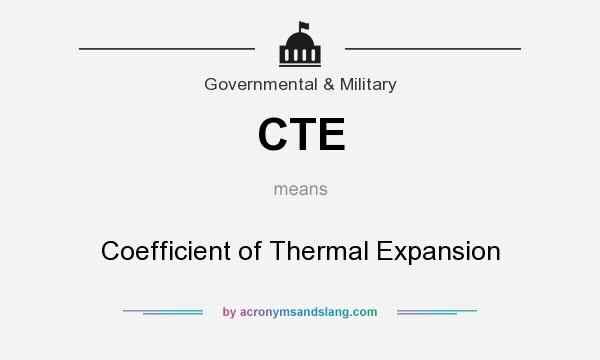 What does CTE mean? It stands for Coefficient of Thermal Expansion