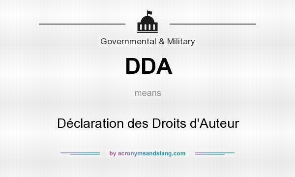What does DDA mean? It stands for Déclaration des Droits d`Auteur