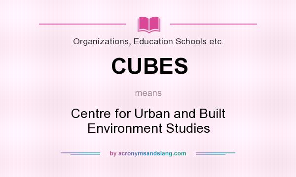 What does CUBES mean? It stands for Centre for Urban and Built Environment Studies