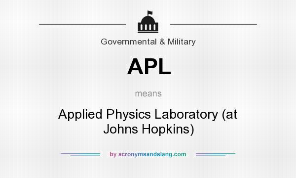 What does APL mean? It stands for Applied Physics Laboratory (at Johns Hopkins)