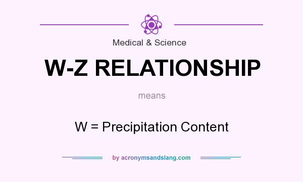 What does W-Z RELATIONSHIP mean? It stands for W = Precipitation Content