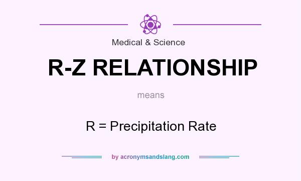 What does R-Z RELATIONSHIP mean? It stands for R = Precipitation Rate