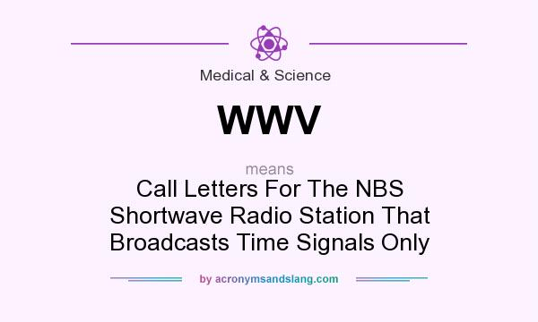 What does WWV mean? It stands for Call Letters For The NBS Shortwave Radio Station That Broadcasts Time Signals Only