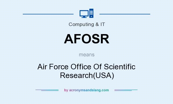 What does AFOSR mean? It stands for Air Force Office Of Scientific Research(USA)