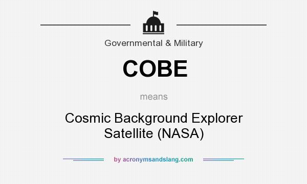 What does COBE mean? It stands for Cosmic Background Explorer Satellite (NASA)