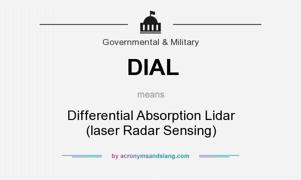 What does DIAL mean? It stands for Differential Absorption Lidar (laser Radar Sensing)