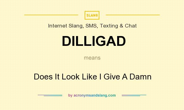 What does DILLIGAD mean? It stands for Does It Look Like I Give A Damn