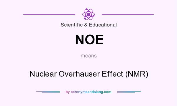 What does NOE mean? It stands for Nuclear Overhauser Effect (NMR)