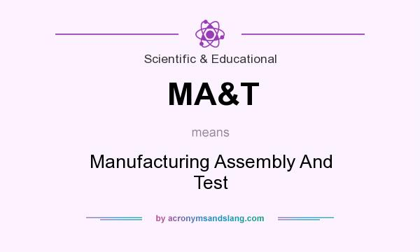 What does MA&T mean? It stands for Manufacturing Assembly And Test
