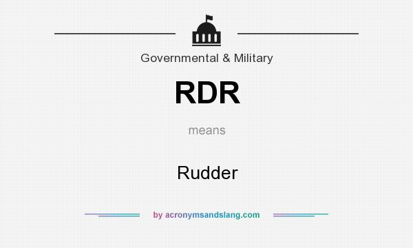 What does RDR mean? It stands for Rudder