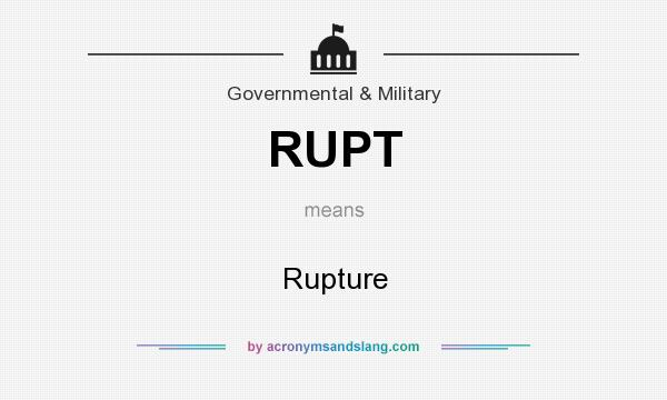 What does RUPT mean? It stands for Rupture