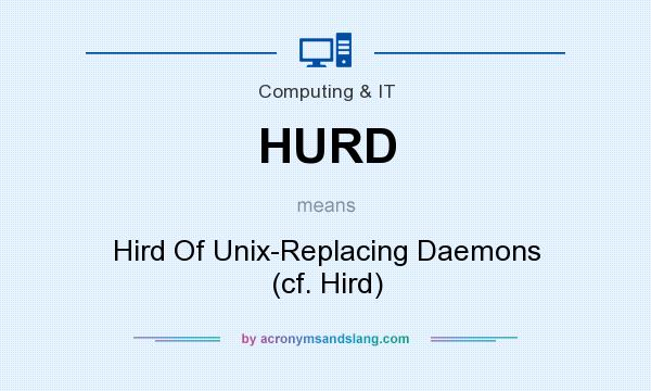 What does HURD mean? It stands for Hird Of Unix-Replacing Daemons (cf. Hird)