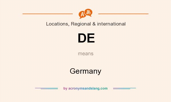 What does DE mean? It stands for Germany