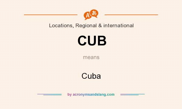 What does CUB mean? It stands for Cuba