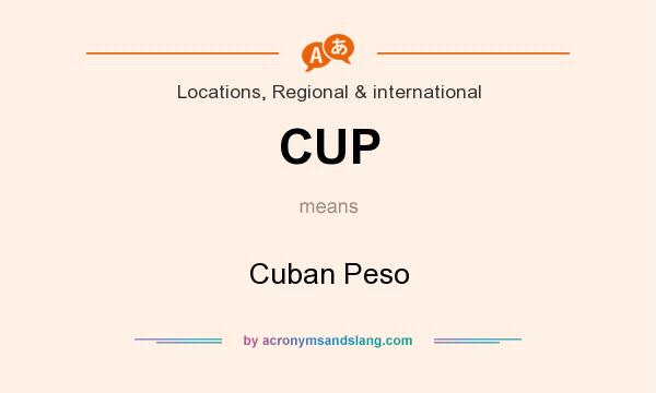 What does CUP mean? It stands for Cuban Peso