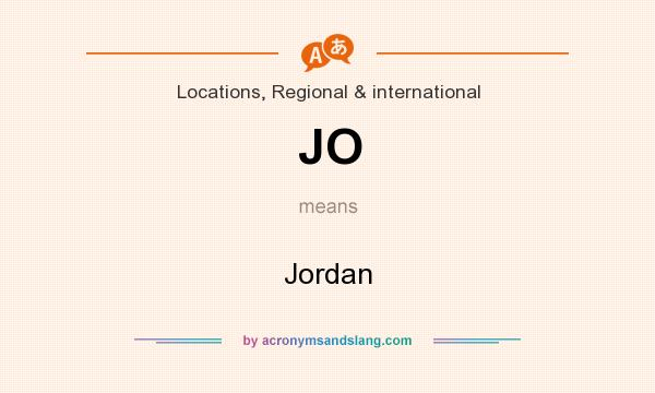 What does JO mean? It stands for Jordan