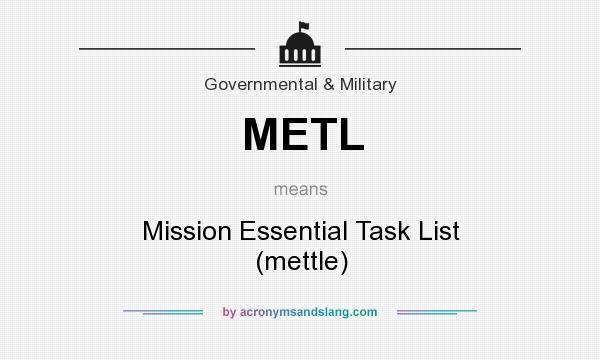 What does METL mean? It stands for Mission Essential Task List (mettle)