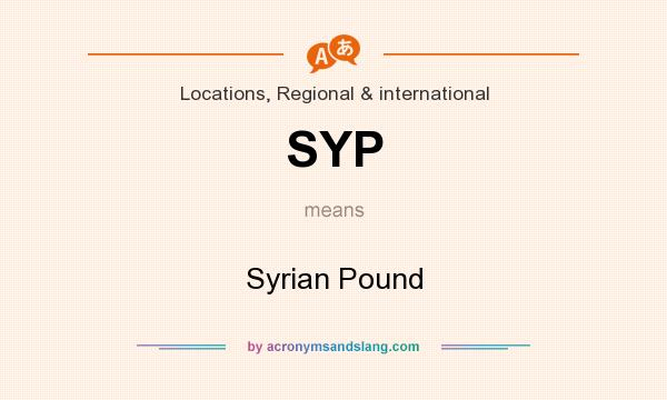 What does SYP mean? It stands for Syrian Pound