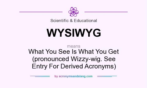 What does WYSIWYG mean? It stands for What You See Is What You Get (pronounced Wizzy-wig. See Entry For Derived Acronyms)