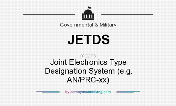 What does JETDS mean? It stands for Joint Electronics Type Designation System (e.g. AN/PRC-xx)