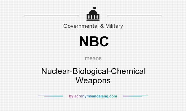 What does NBC mean? It stands for Nuclear-Biological-Chemical Weapons