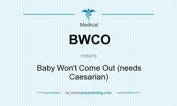 What does BWCO mean? It stands for Baby Won`t Come Out (needs Caesarian)