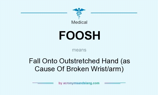 What does FOOSH mean? It stands for Fall Onto Outstretched Hand (as Cause Of Broken Wrist/arm)