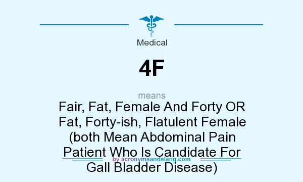 What does 4F mean? It stands for Fair, Fat, Female And Forty OR Fat, Forty-ish, Flatulent Female (both Mean Abdominal Pain Patient Who Is Candidate For Gall Bladder Disease)