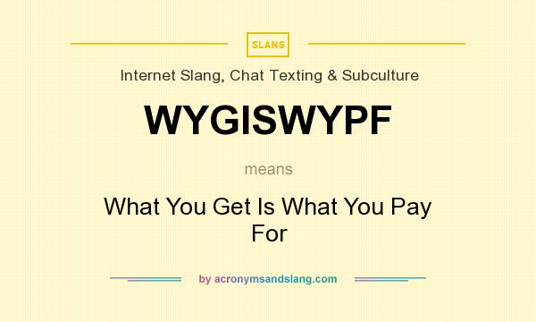 What does WYGISWYPF mean? It stands for What You Get Is What You Pay For