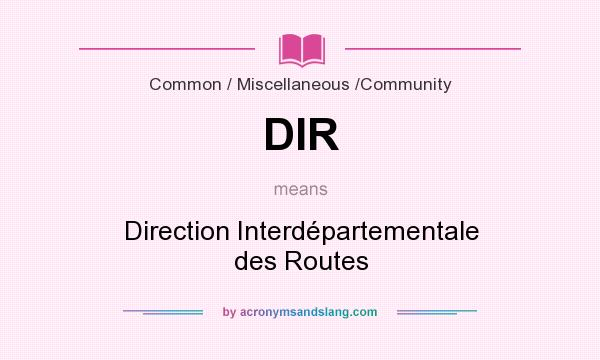 What does DIR mean? It stands for Direction Interdépartementale des Routes