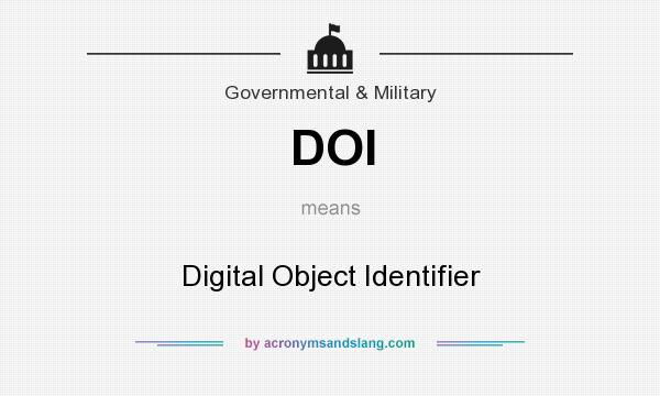 What does DOI mean? It stands for Digital Object Identifier