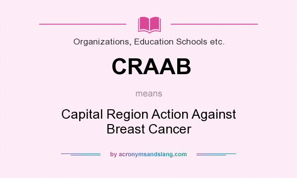 What does CRAAB mean? It stands for Capital Region Action Against Breast Cancer