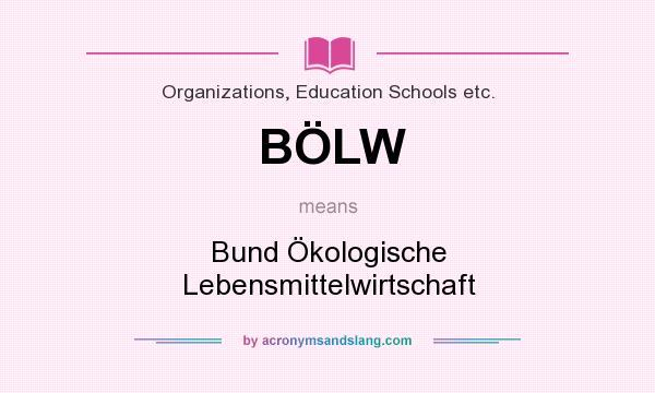 What does BÖLW mean? It stands for Bund Ökologische Lebensmittelwirtschaft
