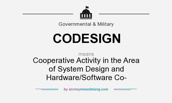 What does CODESIGN mean? It stands for Cooperative Activity in the Area of System Design and Hardware/Software Co-