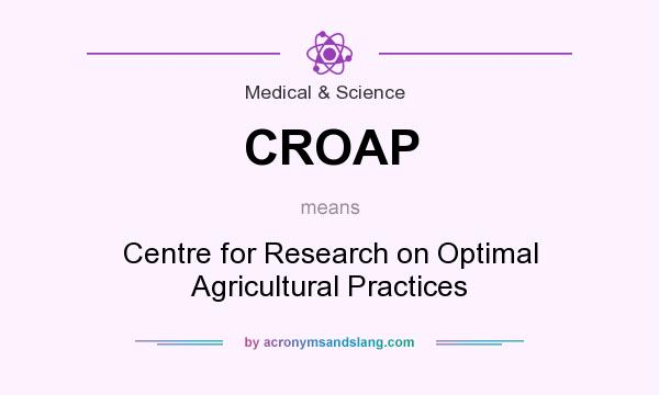 What does CROAP mean? It stands for Centre for Research on Optimal Agricultural Practices