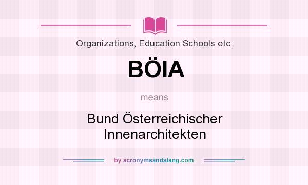 What does BÖIA mean? It stands for Bund Österreichischer Innenarchitekten