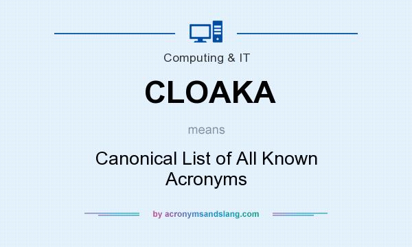What does CLOAKA mean? It stands for Canonical List of All Known Acronyms
