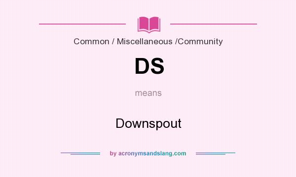 What does DS mean? It stands for Downspout