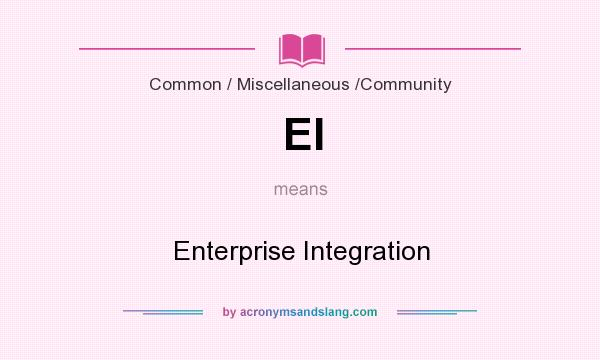 What does EI mean? It stands for Enterprise Integration