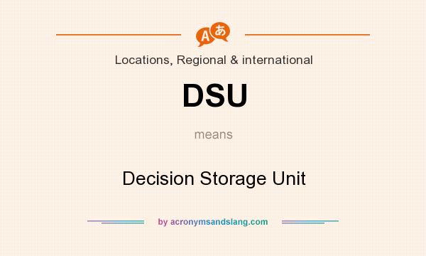 What does DSU mean? It stands for Decision Storage Unit