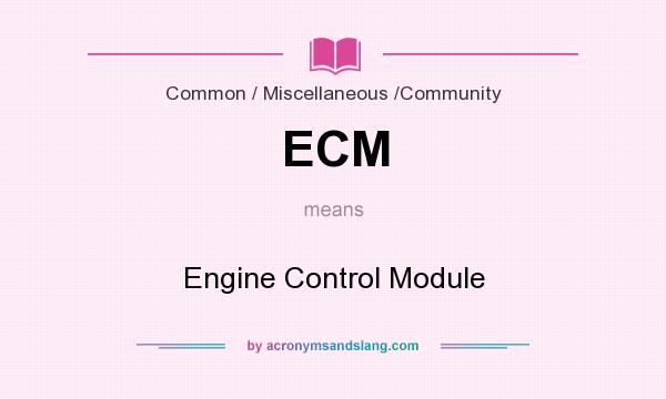 What does ECM mean? It stands for Engine Control Module