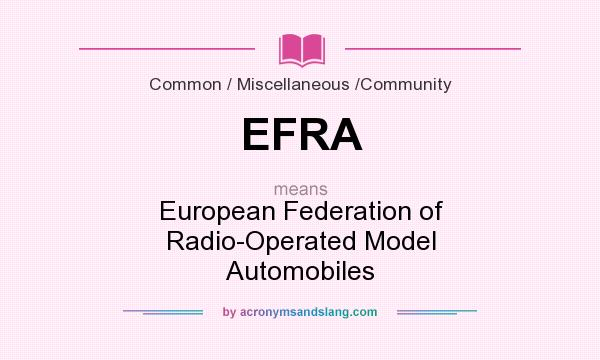 What does EFRA mean? It stands for European Federation of Radio-Operated Model Automobiles