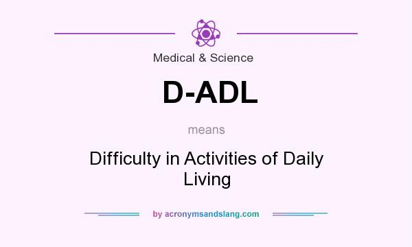 What does D-ADL mean? It stands for Difficulty in Activities of Daily Living