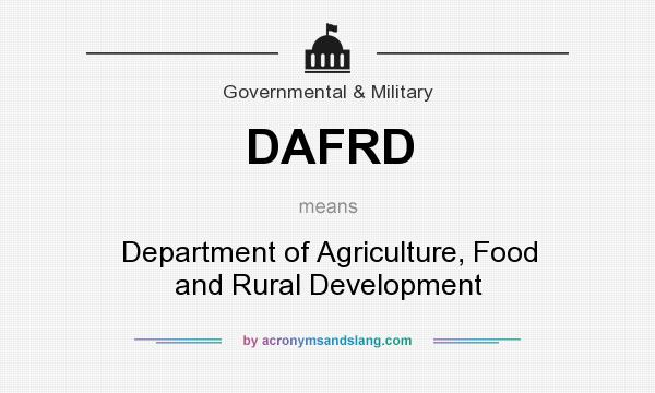What does DAFRD mean? It stands for Department of Agriculture, Food and Rural Development