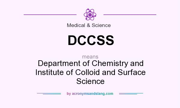 What does DCCSS mean? It stands for Department of Chemistry and Institute of Colloid and Surface Science