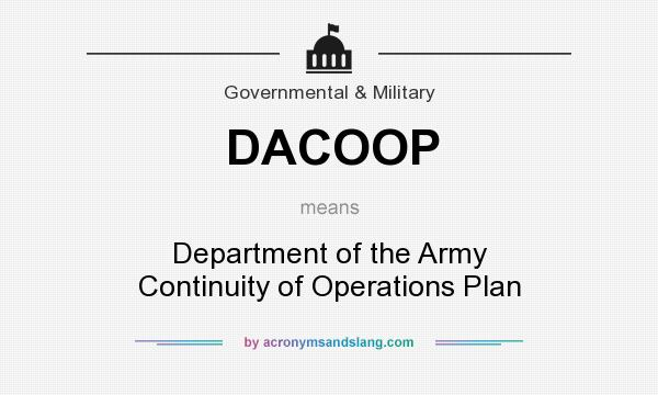 What does DACOOP mean? It stands for Department of the Army Continuity of Operations Plan