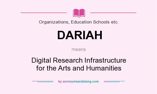 What does DARIAH mean? It stands for Digital Research Infrastructure for the Arts and Humanities