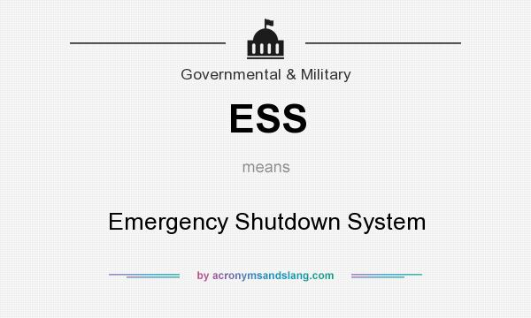 What does ESS mean? It stands for Emergency Shutdown System