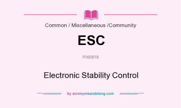 What does ESC mean? It stands for Electronic Stability Control